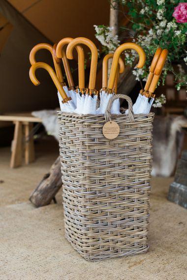 Brolly Bucket Umbrella's for a Rainy Wedding
