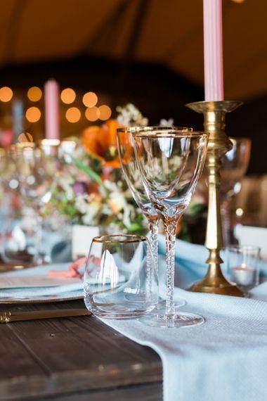 Gold Rimmed Wine Glasses & Tumbler