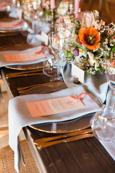 Blue Linen Napkin with Menu Card Placed on Top