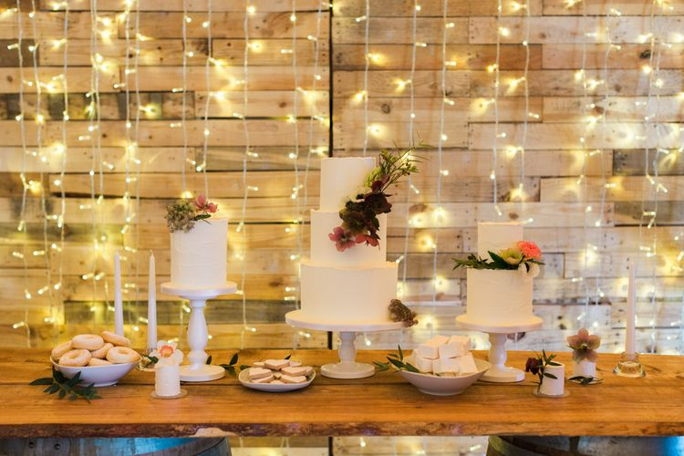 Cake Table with Fairy Light Backdrop