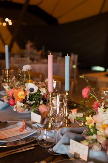 Gold Candles Stick with Blue & Pink Taper Candles