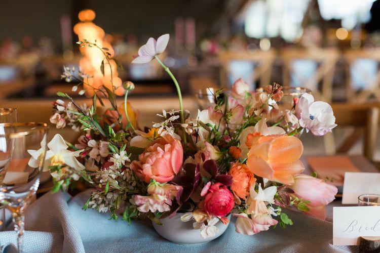 Peach, Coral & Pink Floral Centrepiece
