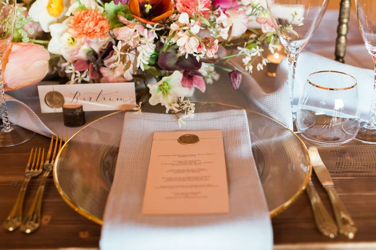Elegant Place Setting with Calligraphy Name Place Card