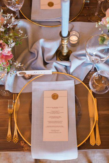 Gold Wax Seal Menu Card on Elegant Place Setting