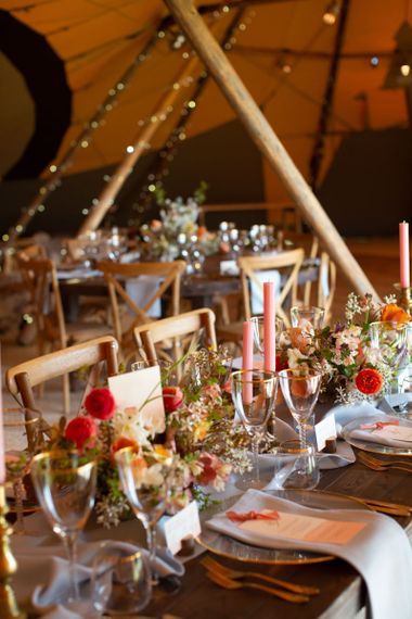 Wedding Reception Table Decor with Candles & Flowers