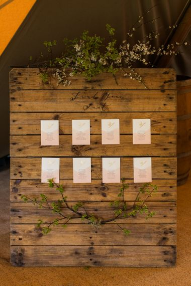 Wooden Seating Chart with Pretty Stationery