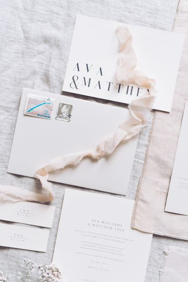Elegant Wedding Stationery by Vine in the Wild | Sophisticated Pastel Wedding Inspiration from Jean Jackson Couture | Emma Pilkington Photography