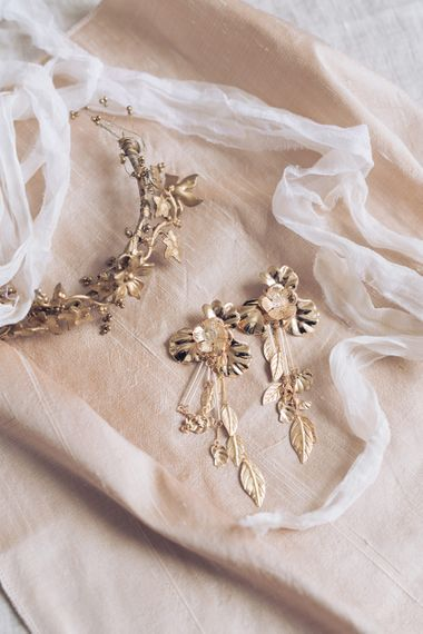 Gold Bridal hairpiece and Earrings | Sophisticated Pastel Wedding Inspiration from Jean Jackson Couture | Emma Pilkington Photography