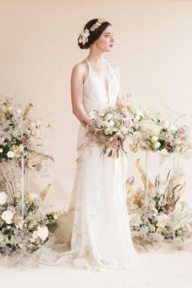 Elegant Bride | Oversized Bridal Bouquet | Wedding Flowers | Sophisticated Pastel Wedding Inspiration from Jean Jackson Couture | Emma Pilkington Photography