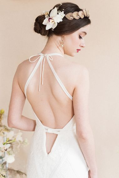 Beautiful Bride in Backless Dress | Sophisticated Pastel Wedding Inspiration from Jean Jackson Couture | Emma Pilkington Photography