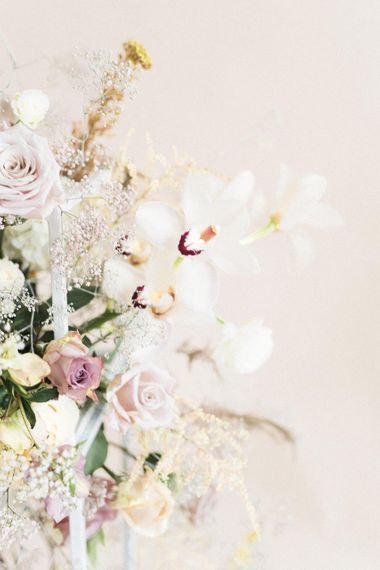 Delicate Flower Arrangement by Sass Flowers | Sophisticated Pastel Wedding Inspiration from Jean Jackson Couture | Emma Pilkington Photography
