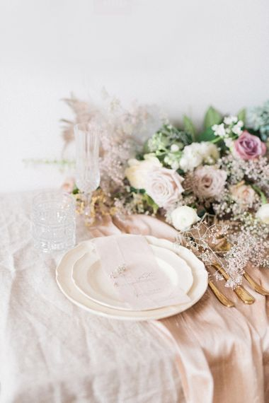 Elegant Place Setting with Delicate Flowers | Sophisticated Pastel Wedding Inspiration from Jean Jackson Couture | Emma Pilkington Photography