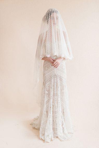 Rue De Seine Bridal Gown & Polka Dot Wedding Veil | Sophisticated Pastel Wedding Inspiration from Jean Jackson Couture | Emma Pilkington Photography