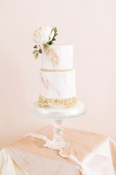 Two Tier Wedding Cake with Gold Leaf Decor by The Frostery | Sophisticated Pastel Wedding Inspiration from Jean Jackson Couture | Emma Pilkington Photography