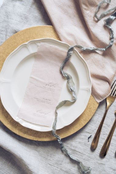 Elegant Place Setting with Vine in the Wild Menu Card | Sophisticated Pastel Wedding Inspiration from Jean Jackson Couture | Emma Pilkington Photography