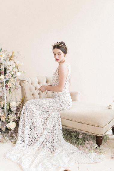 Beautiful Bride in Applique Bridal Gown | Sophisticated Pastel Wedding Inspiration from Jean Jackson Couture | Emma Pilkington Photography
