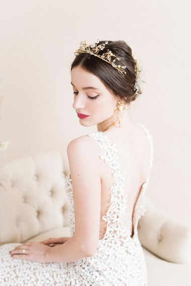 Backless Applique Wedding Dress | Sophisticated Pastel Wedding Inspiration from Jean Jackson Couture | Emma Pilkington Photography
