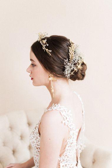 Stylish Gold Headdress | Sophisticated Pastel Wedding Inspiration from Jean Jackson Couture | Emma Pilkington Photography