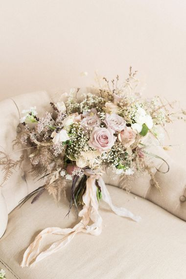 Pastel Wild Flower Wedding Bouquet with Roses & Gypsophila | Sophisticated Pastel Wedding Inspiration from Jean Jackson Couture | Emma Pilkington Photography