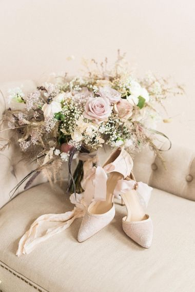 Elegant Wedding Bouquet & Diane Hassall Bridal Shoes | Sophisticated Pastel Wedding Inspiration from Jean Jackson Couture | Emma Pilkington Photography