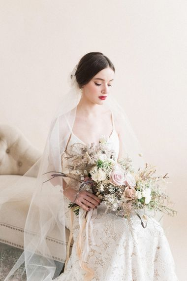 Beautiful Bride in Lace Gown | Sophisticated Pastel Wedding Inspiration from Jean Jackson Couture | Emma Pilkington Photography