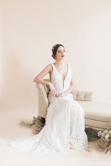 Beautiful Bride in Lasercut Wedding Dress | Sophisticated Pastel Wedding Inspiration from Jean Jackson Couture | Emma Pilkington Photography