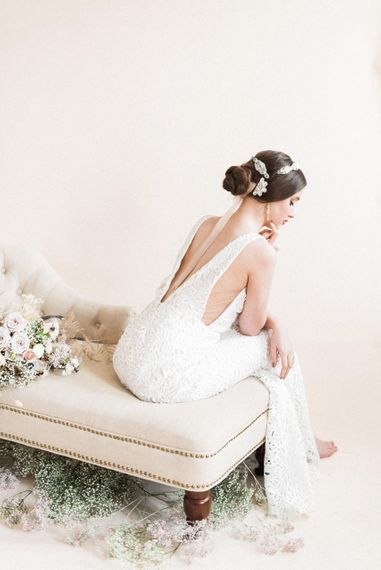 Lasercut Wedding Dress with Illusion Back and Sides | Sophisticated Pastel Wedding Inspiration from Jean Jackson Couture | Emma Pilkington Photography