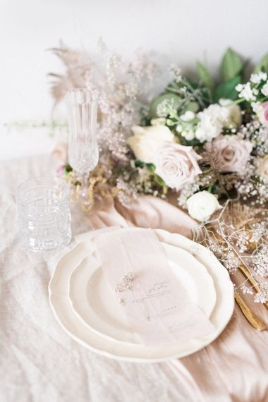 Elegant Place Setting with Vine in The Wild Wedding Stationery | Sophisticated Pastel Wedding Inspiration from Jean Jackson Couture | Emma Pilkington Photography
