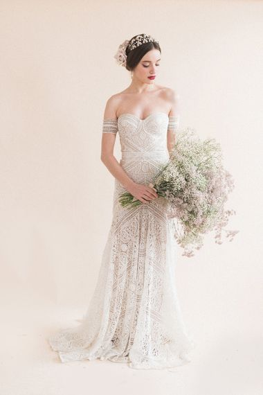 Beautiful Bride in Boho Lace Rue De Seine Bridal Gown | Oversized Pink & White Gypsophila Bridal Bouquet | Sophisticated Pastel Wedding Inspiration from Jean Jackson Couture | Emma Pilkington Photography