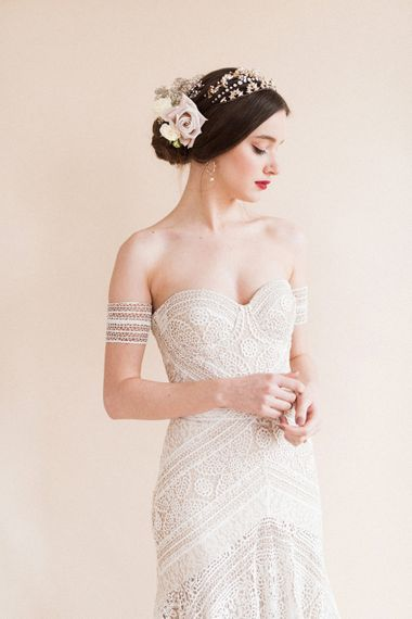 Beautiful Bride in Boho Lace Rue De Seine Bridal Gown | Sophisticated Pastel Wedding Inspiration from Jean Jackson Couture | Emma Pilkington Photography