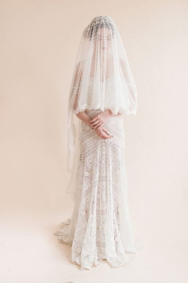 Beautiful Bride in Polka Dot Wedding Veil & Boho Lace Rue De Seine Bridal Gown | Sophisticated Pastel Wedding Inspiration from Jean Jackson Couture | Emma Pilkington Photography