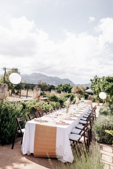 White, Pink & Green Outdoor Spanish Wedding at Binissatí in Mallorca, Spain | Planned by Pasión Eventos | Wedding Dresses by Marta Planella | Marta Kowalska Photography