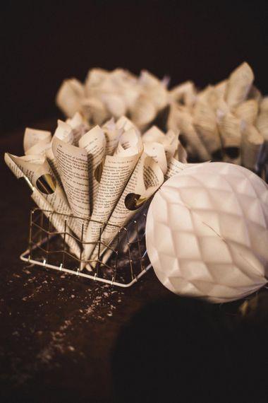 Basket of Old Book Page Confetti Cones