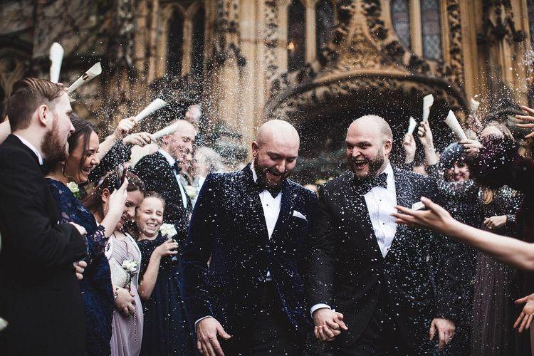 Groom & Groom in Tuxedo's During Confetti Moment