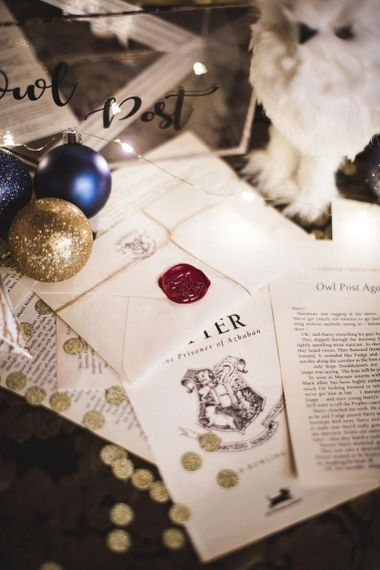 Harry Potter Pages with Wax Seal Next to Wedding Card Box