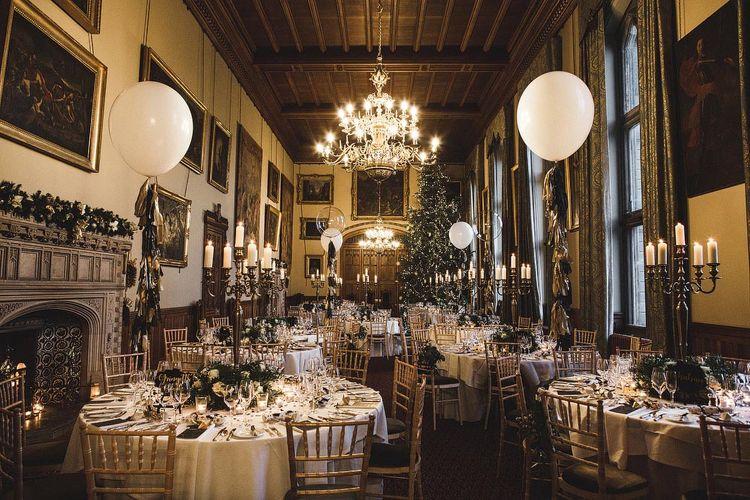 Black and Gold Christmas Wedding Reception Decor