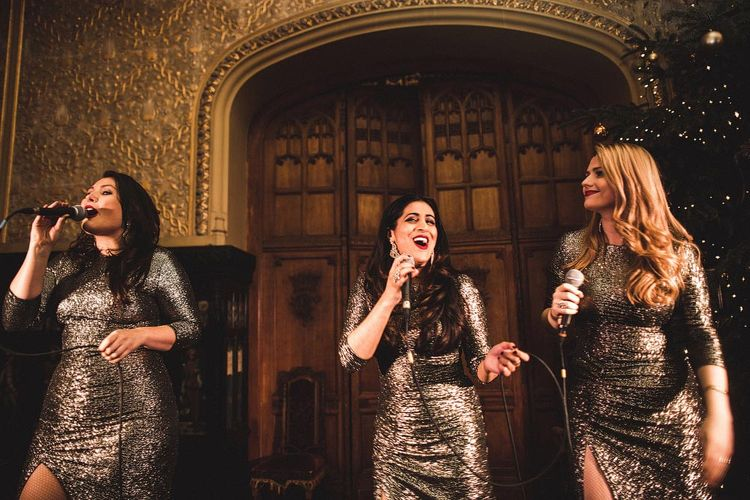 Wedding Entertainers in Sparkly Silver Dresses
