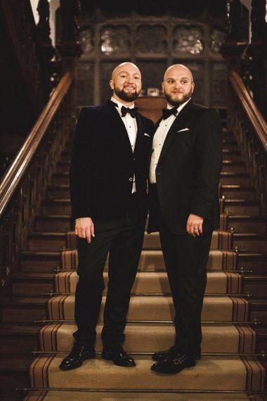 Groom and Groom in Alexander McQueen and Hugo Boss Suis