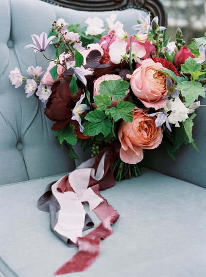 Berry Toned Wedding Bouquet With Coral Accents // Bramble & Wild Florist