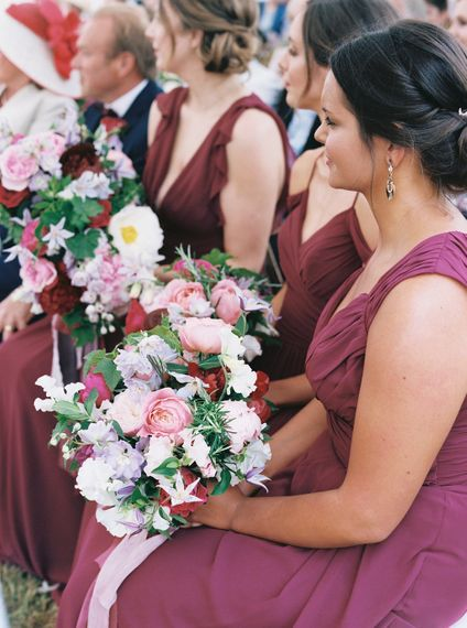 Bridesmaids In Raspberry Coloured Dresses By Hayley Paige