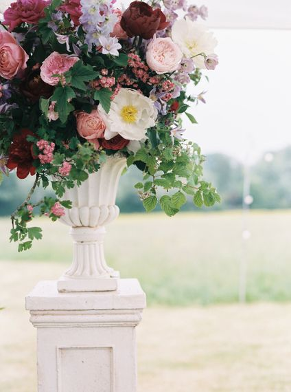 Peonies, David Austin Roses, Foxgloves & Delphiniums For A Flower Filled Marquee Wedding Bramble & Wild Florists Bride And Bridesmaids Hayley Paige