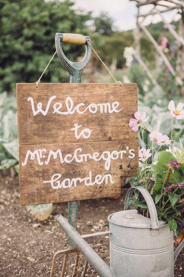 Wooden Mr McGregor's Garden Sign | Pastel Peter Rabbit Spring Inspiration at River Cottage | Beatrix Potter | Jennifer Jane Photography