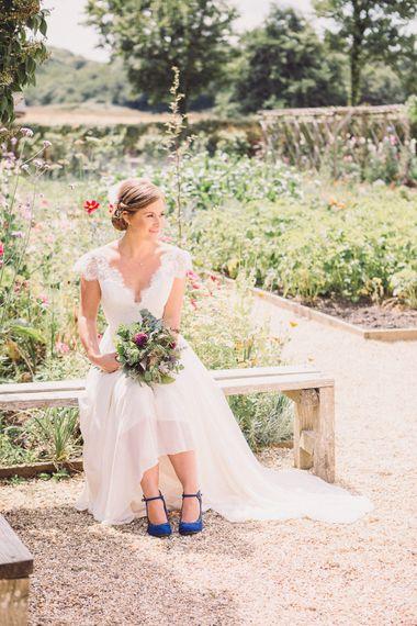 Bride in Lace Wedding Dress with Back Detail | Pastel Peter Rabbit Spring Inspiration at River Cottage | Beatrix Potter | Mr McGregor's Garden | Jennifer Jane Photography