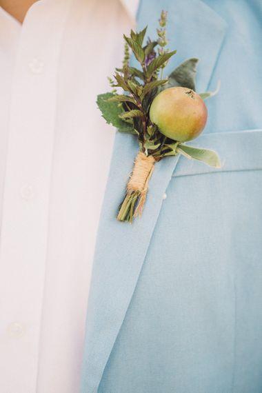 Succulent Vegetable Buttonhole | Groom in Pale Blue Blazer & White Shirt |  Pastel Peter Rabbit Spring Inspiration at River Cottage | Beatrix Potter | Mr McGregor's Garden | Jennifer Jane Photography