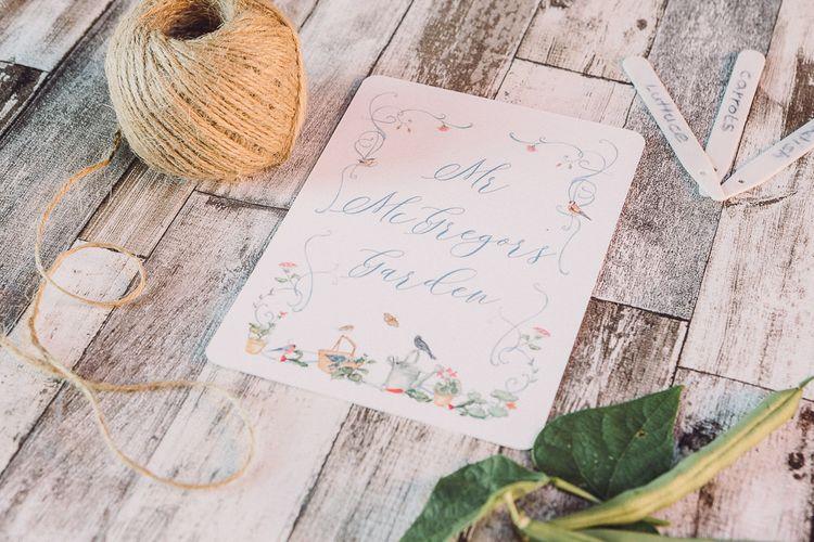 Whimsical De Winton Paper Co. Wedding Stationery Suite | Pastel Peter Rabbit Spring Inspiration at River Cottage | Beatrix Potter | Mr McGreagor's Garden | Succulent Vegetables & Flowers | Jennifer Jane Photography