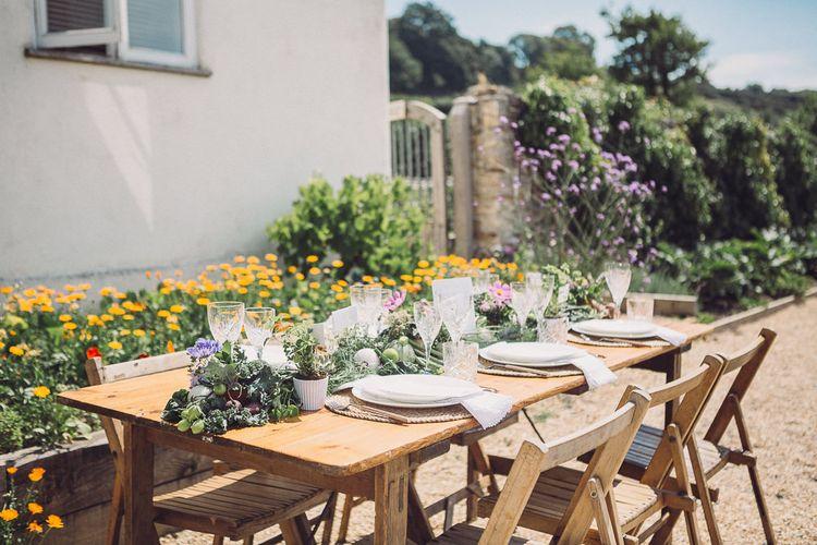 Outdoor Tablescape | Pastel Peter Rabbit Spring Inspiration at River Cottage | Beatrix Potter | Mr McGregor's Garden | Succulent Vegetables & Flowers | Jennifer Jane Photography