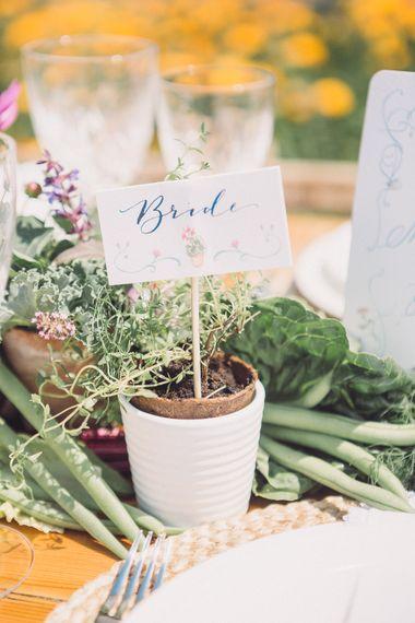 Potted Plants Wedding Decor | Pastel Peter Rabbit Spring Inspiration at River Cottage | Beatrix Potter | Mr McGregor's Garden | Succulent Vegetables & Flowers | Jennifer Jane Photography