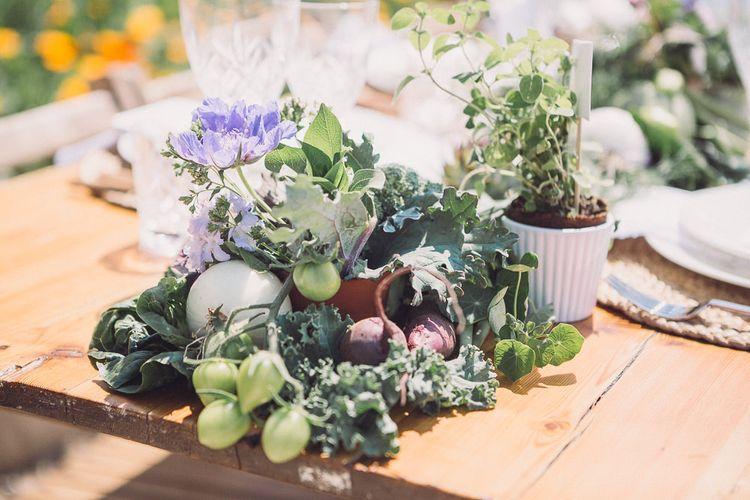 Succulent Vegetables & Floral Table Runner | Pastel Peter Rabbit Spring Inspiration at River Cottage | Beatrix Potter | Mr McGregor's Garden | Jennifer Jane Photography