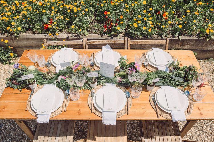 Outdoor Tablescape Place Settings with Succulent Vegetables & Floral Table Runner | Pastel Peter Rabbit Spring Inspiration at River Cottage | Beatrix Potter | Mr McGregor's Garden | Jennifer Jane Photography