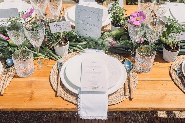 Outdoor Tablescape Place Setting with Succulent Vegetables & Floral Table Runner | Pastel Peter Rabbit Spring Inspiration at River Cottage | Beatrix Potter | Mr McGregor's Garden | Jennifer Jane Photography
